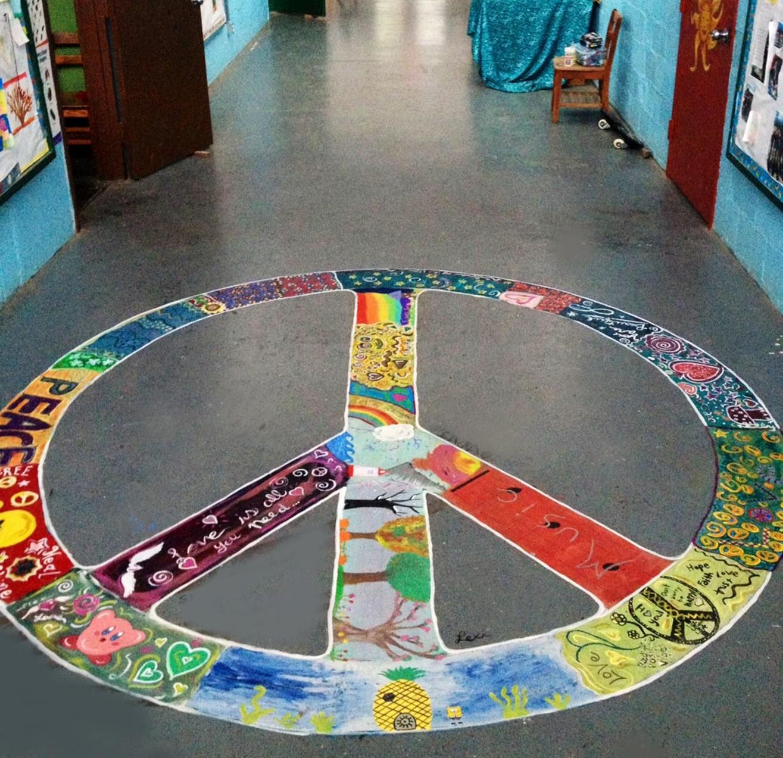 school peace sign