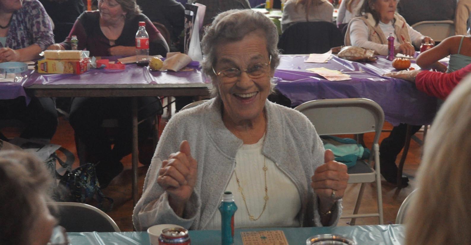 Older woman having fun at Bingo night