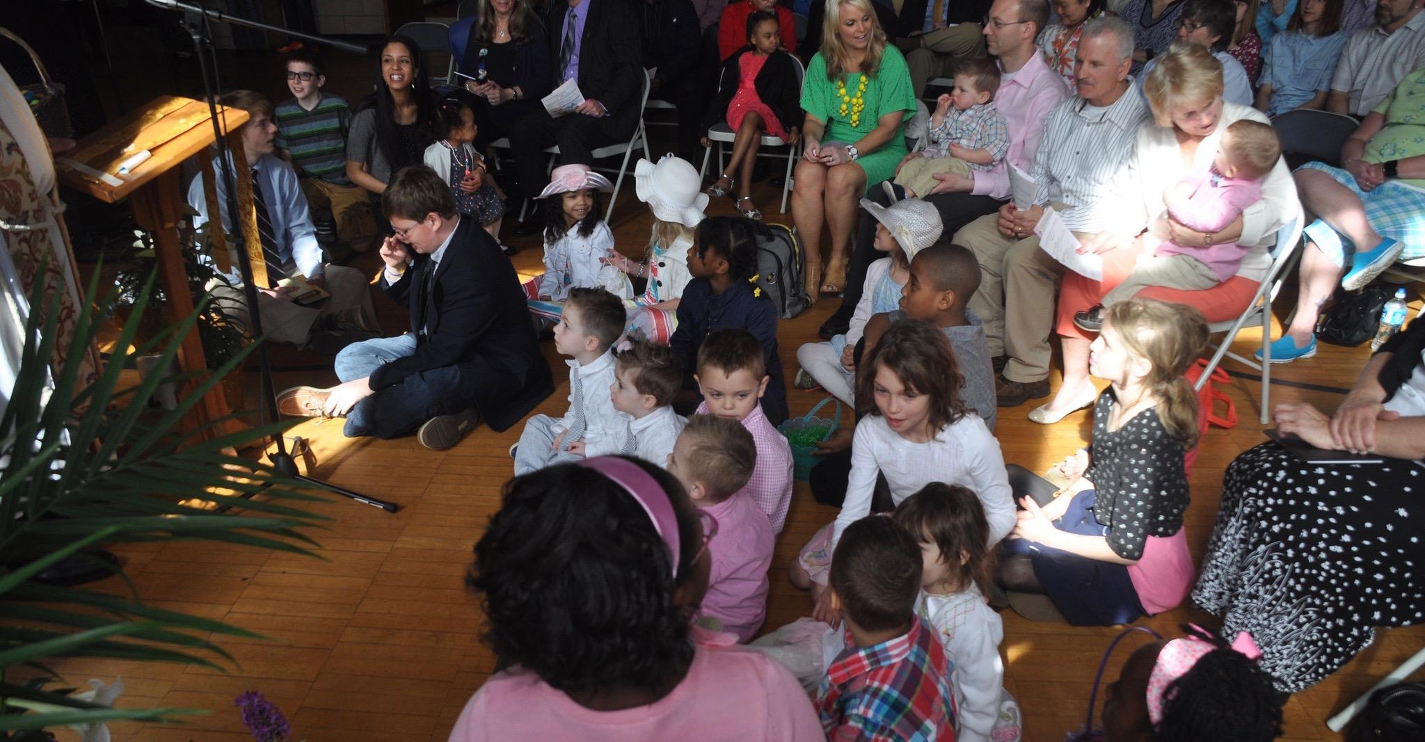 Children gathered for worship, Easter Sunday