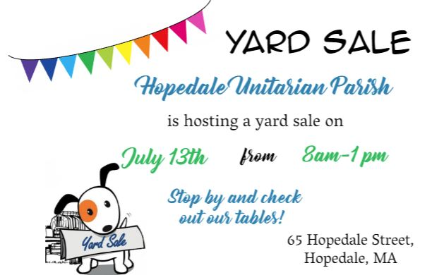 Yard Sale - July 13 at 8 am to 1 pm